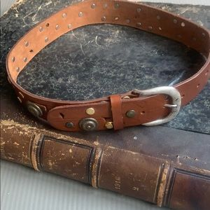 EXP Jeans brown belt leather studded Made in Italy